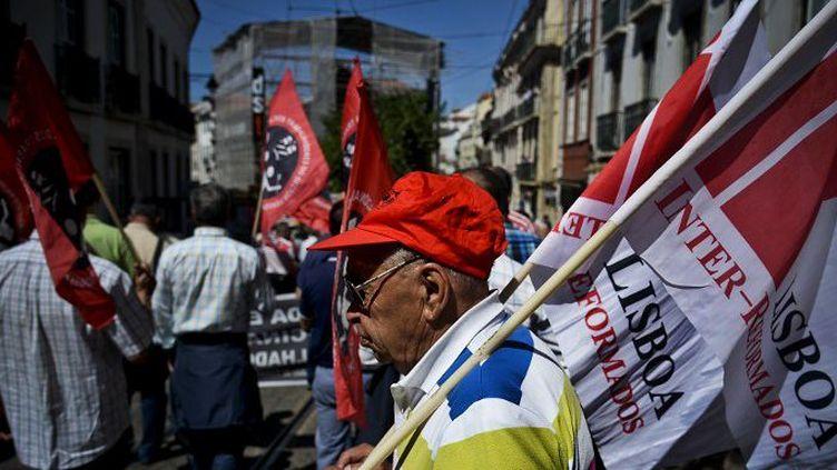 Lisbonne, au Portugal, le 21 mai 2015: manifestation à Lisbonne contre la privatisation des transports, à l'appel duMouvement de la fonction publique, de la Fédération des transports et des communications de l'Union du commerce et d'autres syndicats, des conseils ouvriers et d'autres comités d'utilisateurs. (AFP PHOTO / PATRICIA DE MELO MOREIRA)