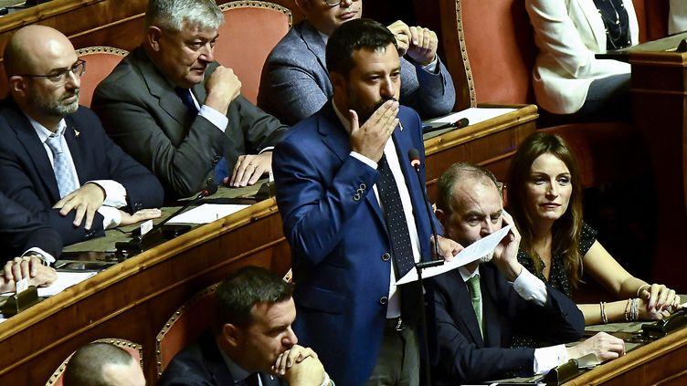 Matteo Salvini au Sénatde la République à Rome,le 13 août 2019. (FILIPPO MONTEFORTE / AFP)