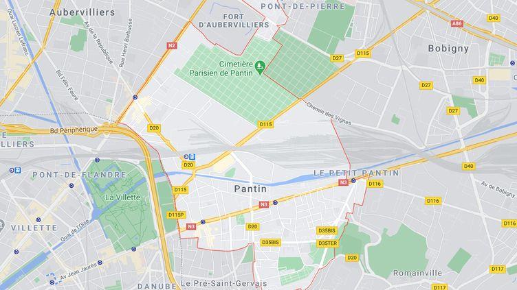 Une fillette a été grièvement blessée par balles alors qu'elle se trouvait en voiture avec son père, mardi 13 avril à Pantin (Seine-Saint-Denis). (GOOGLE MAPS)