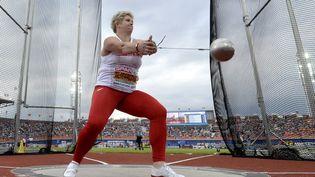 Anita Wlodarczyk médaille d'or du lancer de marteau lors des championnats d'Europe à Amsterdam (Hollande), le 8 juillet 2016. (JEAN-SEBASTIEN EVRARD / AFP)