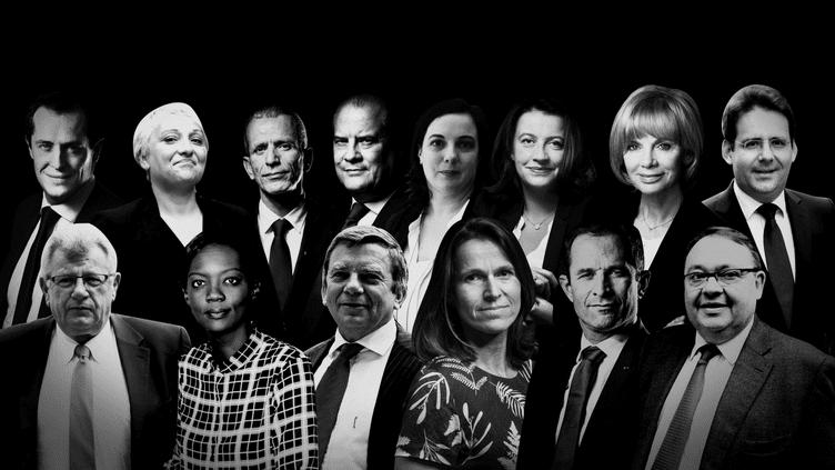 Les personnalités politiques éliminées dès le premier tour des élections législatives. (SONIA LANGE / FRANCEINFO)