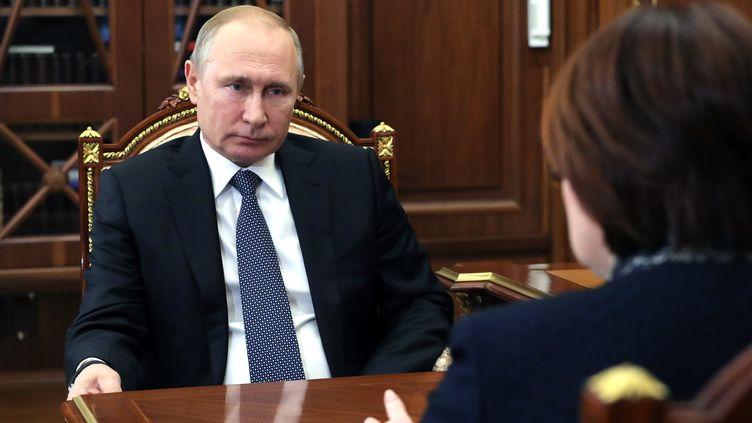 Le président russe Vladimir Poutine, le 4 mars 2019 à Moscou. (MIKHAEL KLIMENTYEV / SPUTNIK / AFP)