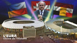 Lestade olympique de Kiev à gauche,et le stade Roi Baudouin à droite, ont accueilli des matches de l'Euro respectivement en 2012 et 2000. (Florian Parisot/FranceInfo Sport/AFP)