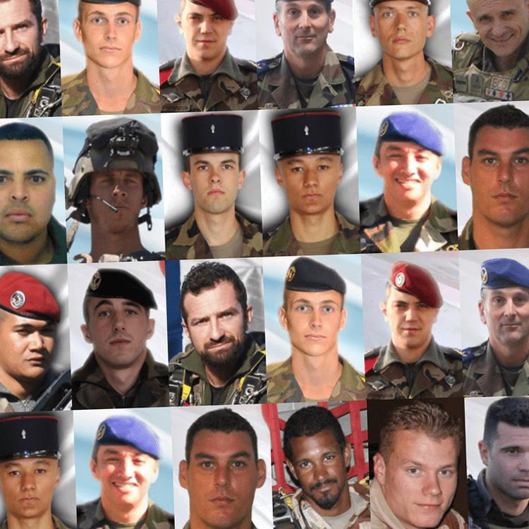 Les vingt-deux soldats français morts au Sahel depuis 2013, selon un décompte réalisé par franceinfo fin février 2018. (FRANCEINFO)