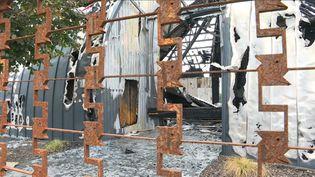 Le cirque brûlé dans la nuit du 2 au 3 novembre 2019, à Chanteloup-les-Vignes, dans les Yvelines. (PIERRE RATEAU / AFPTV)