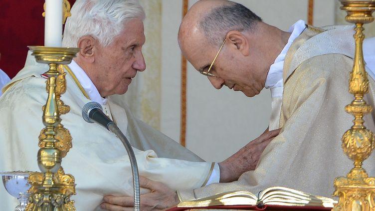 Le cardinal Tarcisio Bertone a été secrétaire d'État du Vatican sous Benoît XVI. (ANDREAS SOLARO / AFP)