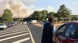 Un incendie s'est déclaré, le 6 septembre 2017, au nord de Montpellier (Hérault). (NICOLAS CHATAIL / FRANCE 3 OCCITANIE)