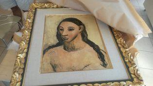 """Le tableau de Picasso """"Head of a young woman"""" (""""Tête de jeune fille""""), saisi vendredi 31 juillet 2015 par les services des douanes françaises à Calvi (Haute-Corse). (DOUANES FRANCAISES / AFP)"""