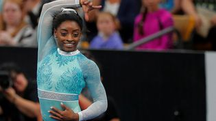 La gymnaste Simone Biles aux championnats américains de gymnastique, à Boston, le 19 août 2018. (BRIAN SNYDER / REUTERS)