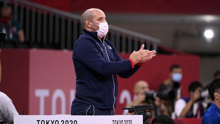 Larbi Benboudaoud, directeur de la haute performance des Bleus et entraîneur de Clarisse Agbégnénou. (CROSNIER JULIEN / KMSP via AFP)