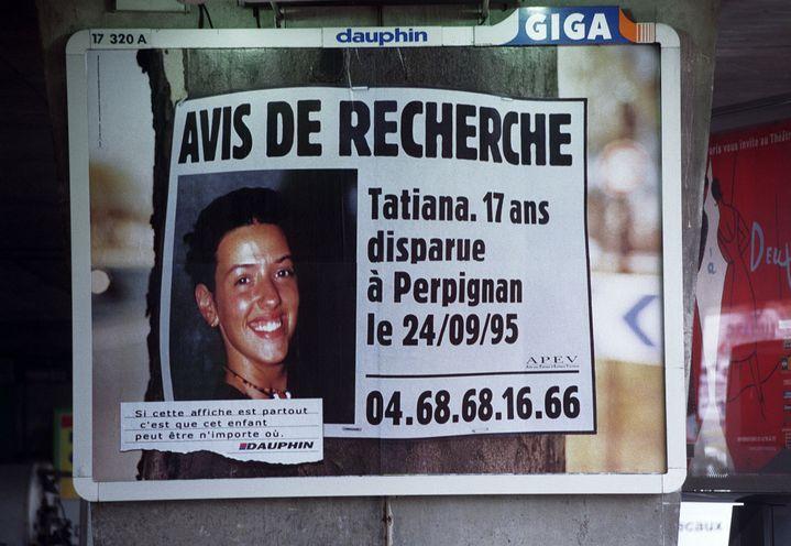 Campagne d'affichage pour la recherche de Tatiana Andujar, le 4 mai 2000. (MAXPPP)