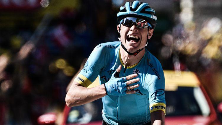 Le coureurdanois Magnus Cort Nielsen, vainqueur de la 15e étape du Tour de France àCarcassonne (Aude), le 22 juillet 2018. (JEFF PACHOUD / AFP)