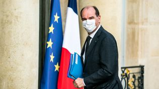 Le Premier ministre, Jean Castex, arrive au Palais de l'Elysée, à Paris, le 29 avril 2021. (XOSE BOUZAS / HANS LUCAS / AFP)