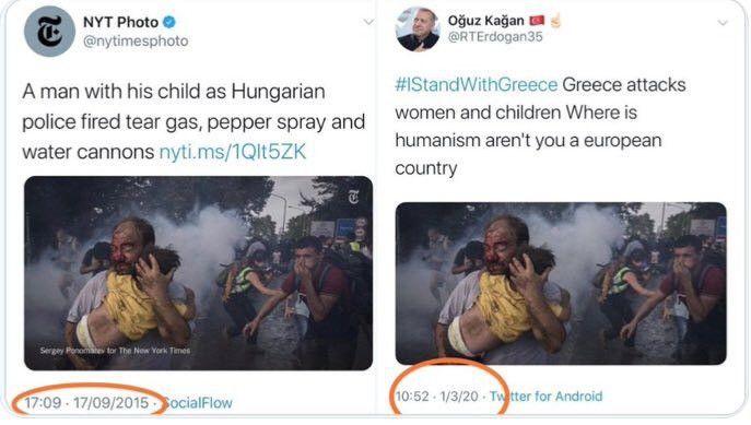 Comparaison entre la photo originale du New York Times et son détournement cinq ans plus tard (FRANCEINFO / RADIOFRANCE)