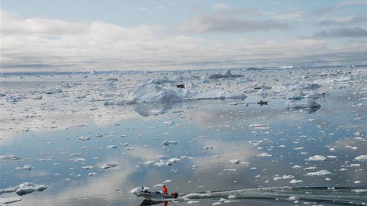 La fonte des glaces au Groenland (ici le fjord de glace d'Ilulissat) est devenue un symbole du réchauffement climatique (AFP PHOTO SLIM ALLAGUI)