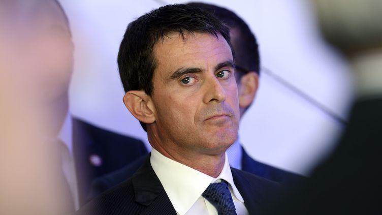 """Le Premier ministre Manuel Valls lors de la présentation du projet du """"Grand Paris"""", à Créteil (Val-de-Marne), le 13 octobre 2014. (ERIC FEFERBERG / AFP)"""