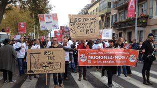 Plus de 500 commerçants, chefs d'entreprise et artisans manifestent contre leur système de protection sociale, à Carcassonne (Aude), le 17 novembre 2014. (FREDERIC GUIBAL / FRANCE 3 LANGUEDOC ROUSSILLON)