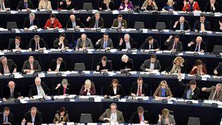 Des députés européens participent à un vote, le 12 mars 2014, lors d'une séance plénière du Parlement européen, à Strasbourg (Bas-Rhin). (FREDERICK FLORIN / AFP)