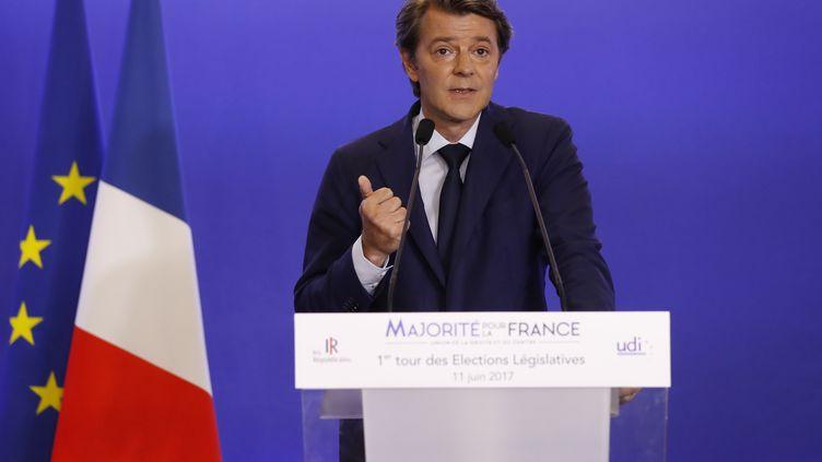 François Baroin, le 11 juin 2017, au QG des Républicains à Paris. (PATRICK KOVARIK / AFP)