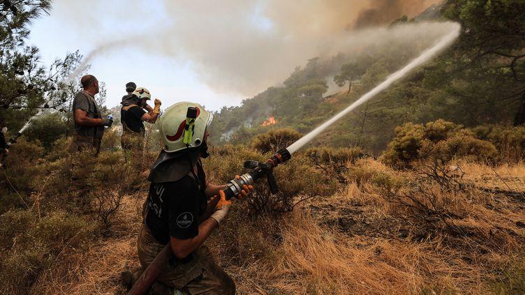 Des pompiers tentent d'éteindre un incendie de forêt dans la province de Mugla, en Turquie, le 1er août 2021. (MAHMUT SERDAR ALAKUS / ANADOLU AGENCY / AFP)