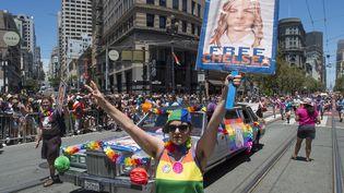 Une manifestation de soutien à Chelsea Manning, le 26 juin 2016 à San Francisco (Etats-Unis). (JOSH EDELSON / AFP)