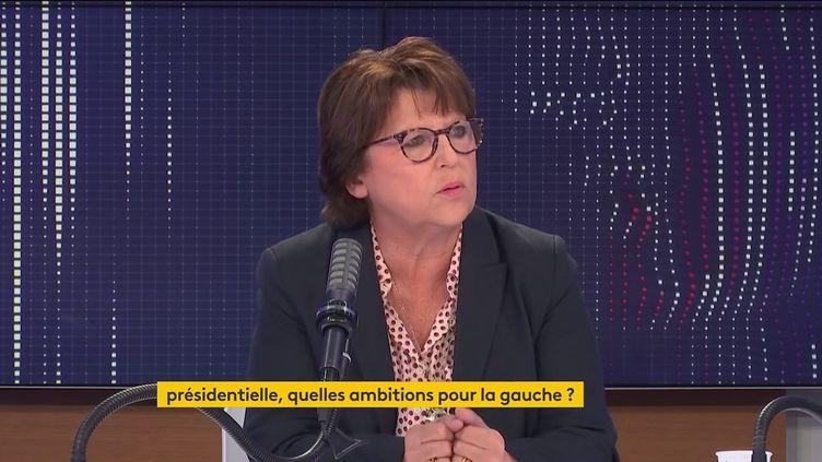 Martine Aubry, maire PS de Lille, était l'invitée du 8h30 franceinfo le 1er septembre 2021. (FRANCEINFO / RADIOFRANCE)