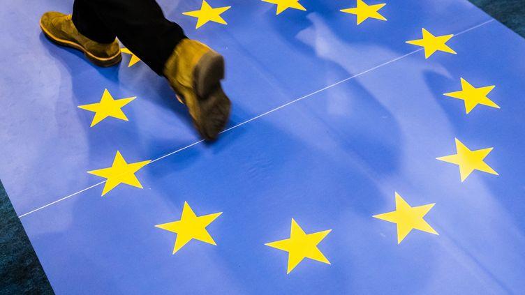 Un drapeau européen est foulé par des passants, le 14 mars 2019, à porte de Versailles, à Paris. (LAURE BOYER / HANS LUCAS / AFP)