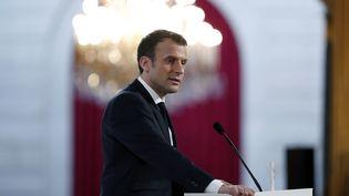 Le président de la République, Emmanuel Macron, le 16 février 2018 à l'Elysée. (IAN LANGSDON / AFP)