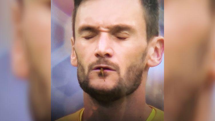 Hugo Lloris, lors du quart de finale de la France face à l'Uruguay, le 6 juillet 2018. (CAPTURE D'ECRAN TWITTER)