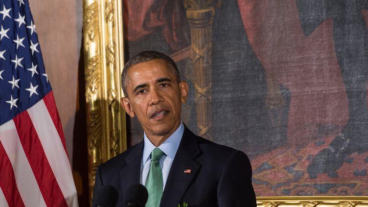Barack Obama, président des Etats-Unis, le 15 mars 2016 à Washington. (NICHOLAS KAMM / AFP)