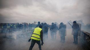"""Un """"gilet jaune"""" fait face aux forces de l'ordre, lors de l'Acte VIII du5 janvier 2019 à Paris. (Abdul Abeissa / AFP)"""
