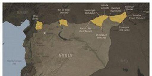 Zones de peuplement kurde au nord de la Syrie (Human Rights Watch)