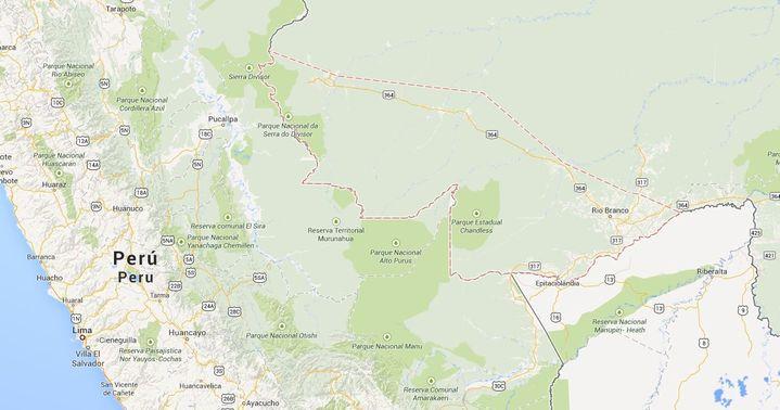 En pointillés rouges, les frontières de l'Etat de l'Acre, au Brésil, frontalier du Pérou. (GOOGLEMAPS / FRANCETV INFO)