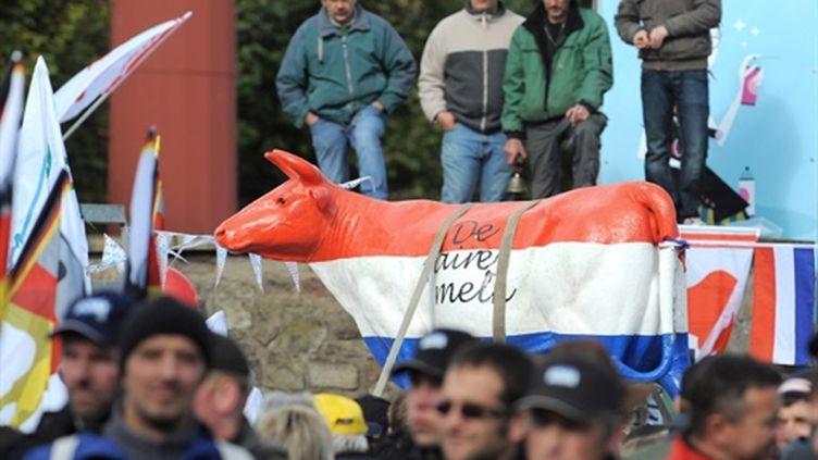 Près d'un millier de producteurs laitiers européens étaient à Strasbourg le 20 octobre 2010. (AFP PHOTO/ FREDERICK FLORIN)