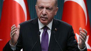 Le président de la Turquie,Recep Tayyip Erdogan, lors d'une conférence de presse le 1er février 2021. Photo d'illustration. (ADEM ALTAN / AFP)