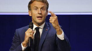 Emmanuel Macron lors ducongrès mondial de l'Union internationale pour la conservation de la nature, à Marseille, le 3 septembre 2019. (LUDOVIC MARIN / AFP)