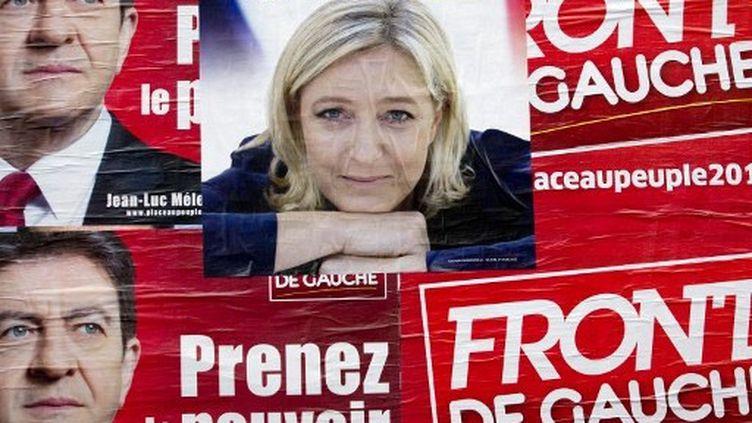 Marine Le Pen et Jean-Luc Mélenchon à égalité sur les murs (Joel Saget / AFP)
