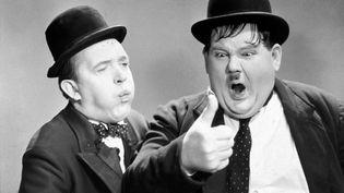 "Stan Laurel et Oliver Hardy dans le film ""Way Out West"" (1937). (ARCHIVES DU 7EME ART / AFP)"