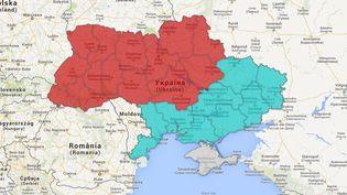 Cette carte monte ce à quoi pourrait ressembler l'Ukraine si le pays était divisé en fonction des langues principalement parlées : ukrainien ou russe. ( GOOGLE MAPS / FRANCETV INFO )