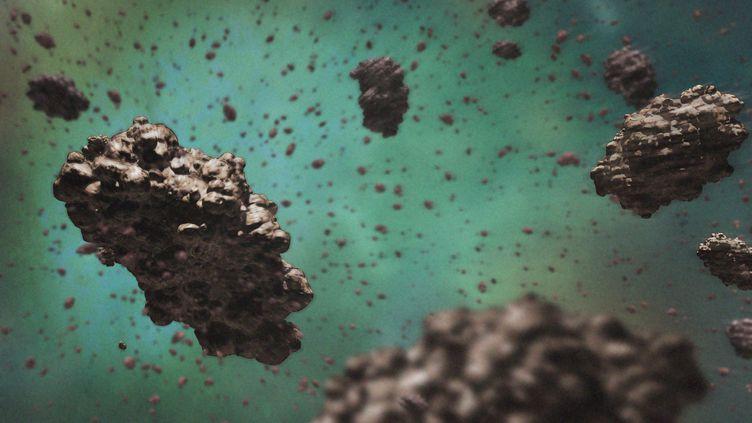 Illustration de poussière cosmique, des particulespouvant mesurer de0,1 micromètre à la taille de quelques molécules. (MARK GARLICK/SCIENCE PHOTO LIBRA / MGA / AFP)