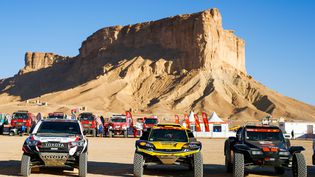Des voitures participant au Dakar, en Arabie saoudite, le 17 janvier 2020. (FREDERIC LE FLOC H / DPPI MEDIA / AFP)
