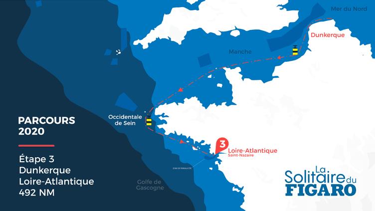 Carte du parcours de la Solitaire du Figaro, étape 3 Dunkerque - Loire-Atlantique