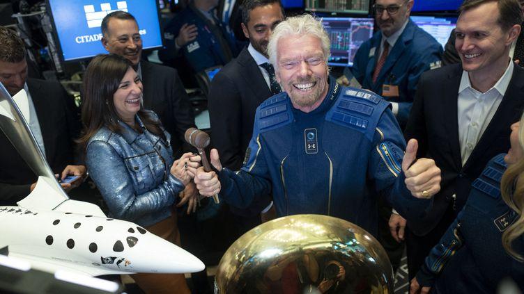 Le milliardaire Richard Bransonlors du lancement en bourse de sa société de tourisme spatial Virgin Galactic, le 28 octobre 2019 à New York. (JOHANNES EISELE / AFP)