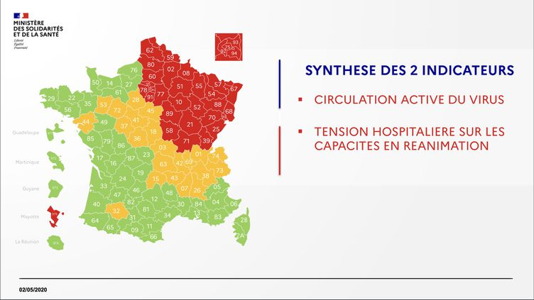 La carte du déconfinement le 2 mai 2020. (DGS / FRANCEINFO)