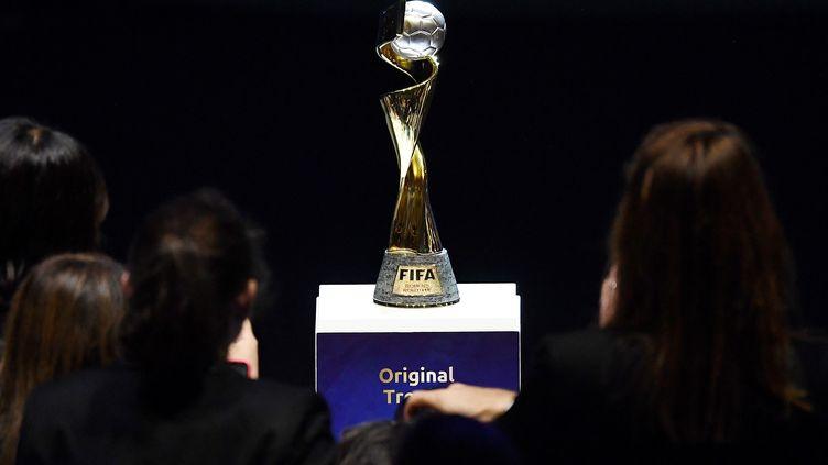 Le trophée de la Coupe du monde féminine de football, le 8 décembre 2018 à Boulogne-Billancourt (Hauts-de-Seine). (ANNE-CHRISTINE POUJOULAT / AFP)