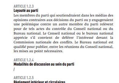 Les opinions dissidentes sont contrôlées par les statuts du PS. (CAPTURE ECRAN STATUT)
