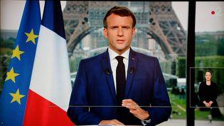 Le président de la République, Emmanuel Macron, lors de son allocutiontélévisée, le 12 juillet 2021. (LUDOVIC MARIN / AFP)