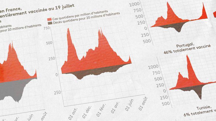 Franceinfo analyse les effets de la vaccination sur la reprise épidémique. (ELLEN LOZON / FRANCEINFO)