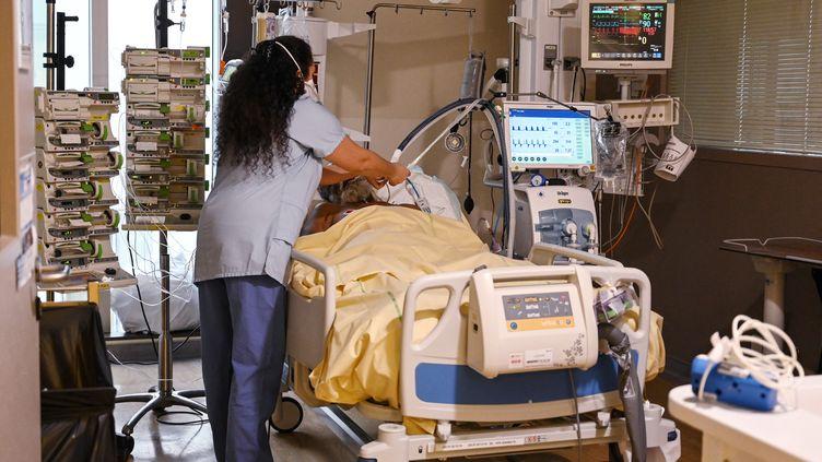 Une membre du personnel soignant de l'hôpital Avicenne de Bobigny (Seine-Saint-Denis) au chevet d'un patient souffrant de Covid-19 en unité de soins intensifs, le 8 février 2021. (BERTRAND GUAY / AFP)