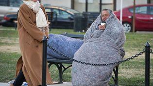 Un sans-abri tente de se protéger du froid dans le square McPherson à Washington (Etats-Unis), le 7 janvier 2014. (MLADEN ANTONOV / AFP)